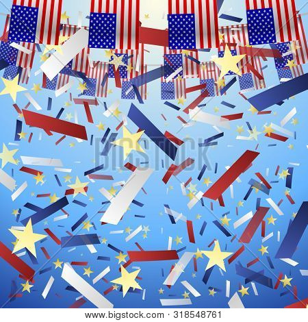 Usa Flags Holliday. Festive American Flags And Falling Confetti On A Blue Sky Background. Vector Ill