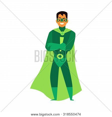 Man brunet asian or latino superhero standing in a green costume, a mask and a cloak. poster