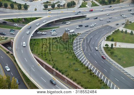 Bridges, Roads. Top View . Aerial View Of Highway And Overpass In City .aerial Photo Of Urban Elevat