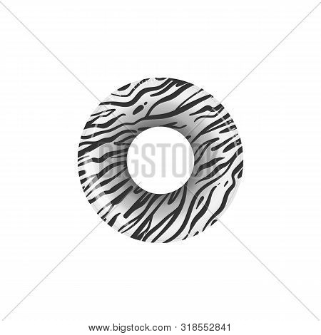 Zebra Print Inflatable Life Preserver Ring With Realistic Animal Skin Pattern