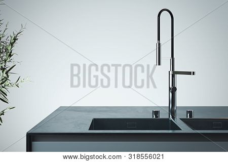 Stylish Sink And Water Faucet Tap. Interior Of Bright Modern Stylish Kitchen. 3d Rendering. Minimali