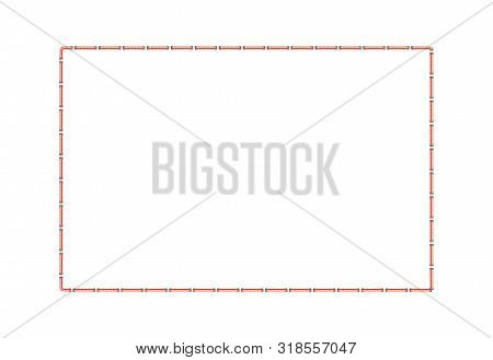 Stitched Square Border Or Sewing Seams Frame The Vector Illustration Isolated.