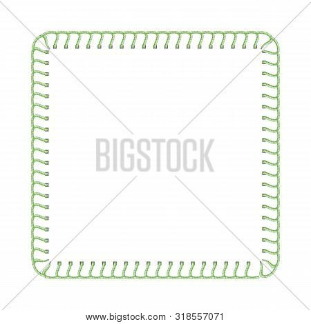 Green Stitch Thread Border For Textile Ad Design, Sewing Machine Seam Texture In Square Frame Shape
