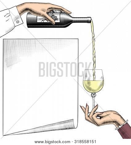 Menu list template with overturned transparent wineglass, poured white wine, bottle, paper sheet banner and corkscrew.