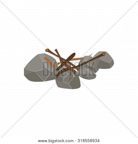 Firewood Preparation Step - Wood Stick Pieces Thrown On Stone Fire Bed For Kindling