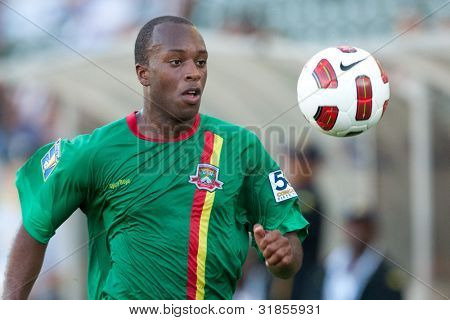 CARSON, CA. - JUNE 6: Grenada player D Anthony Straker #15 in action during the 2011 CONCACAF Gold Cup group B game on June 6 2011 at the Home Depot Center in Carson, CA.