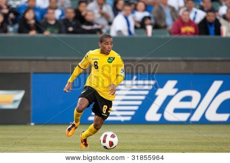CARSON, CA. - JUNE 6: Jamaica player D Eric Vernan #8 in action during the 2011 CONCACAF Gold Cup group B game on June 6 2011 at the Home Depot Center in Carson, CA.