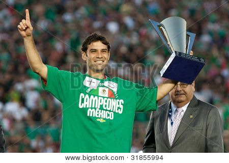 PASADENA, CA. - MAY 25: Mexico player D Rafael Marquez #4 receives the Fair Play Award after the 2011 CONCACAF Gold Cup championship game on May 25 2011 at a sold out Rose Bowl. in Pasadena, CA