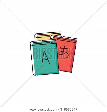 Multilingual Books With Letters And Ieroglyph Sketch Vector Illustration Isolated.