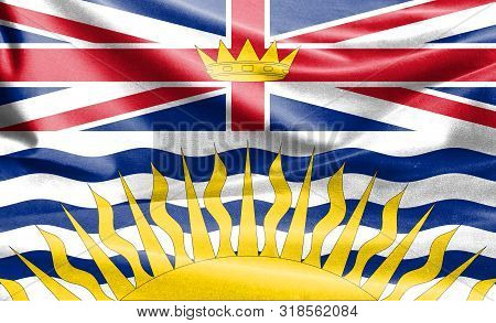Realistic Flag Of British Columbia On The Wavy Surface Of Fabric