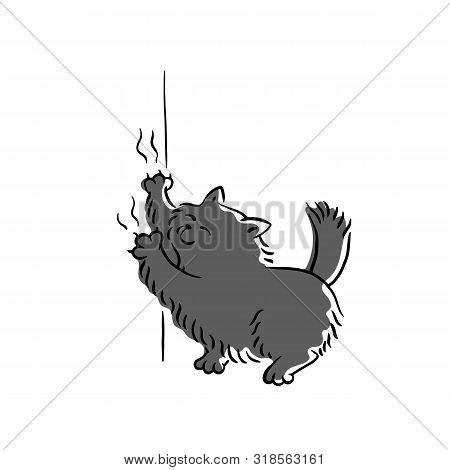 Bad Black Cat Scratching Wallpaper Sketch Cartoon Vector Illustration Isolated.