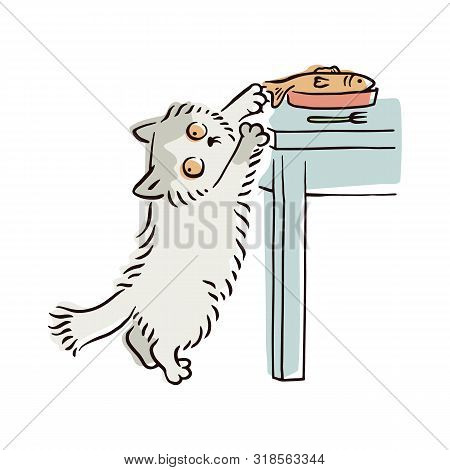 Banner With Naughty Playful Cat Stealing Food Sketch Vector Illustration Isolated.