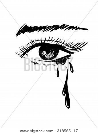 Vector Beautiful Illustration With Crying Eye. Black Illustration. Women's Watery Eyes. Eyes With Fl