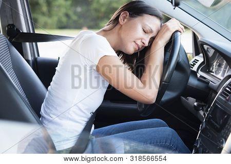 Sad Woman Driver In Car Feeling Negative Emotion