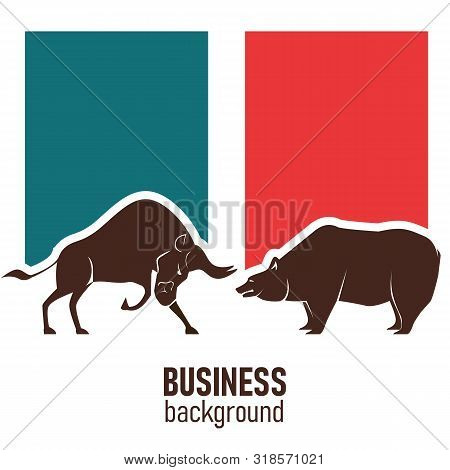 The bull and bear economic trends competing side by side. Graphic design concept of stock market Bullish and Bearish trend. Stock market and business concept. Vector. poster