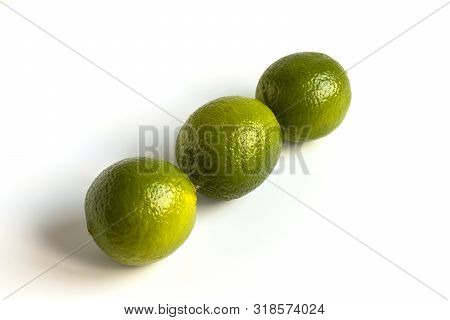 Green Lime Isolated Fruit Set. Whole lemon Citrus. Fresh Organic Limes for Citric Coclatil or Lemonade. Group of Raw Vegetarian Diet Lime. Clipping path on White Background. Juicy Vitamin Plant poster