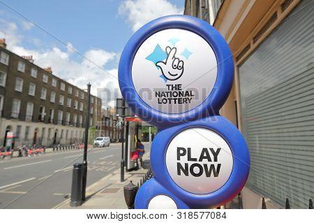 London England - June 3, 2019: National Lottery Sign Uk
