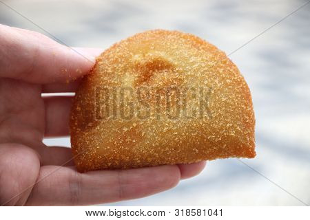 Portuguese Food - Breakfast Or Lunch Pastry Item: Rissole. Deep Fried Minced Meat Croquette.