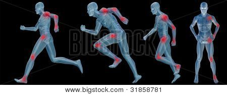 High resolution conceptual man anatomy illustration on white background for medical,medicine,health,rheumatism,osteoporosis,muscle,ache,arthritis,inflammation,painful or bones design