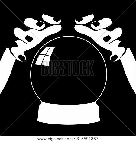 Black and white illustration of a fortune teller hands with crystal ball poster
