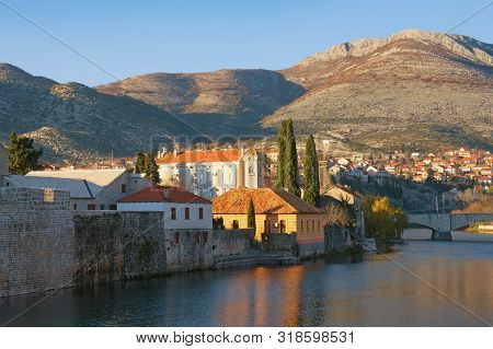 View Of Trebisnjica River And Trebinje City On Sunny Winter Day. Bosnia And Herzegovina, Republika S