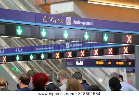 London England - June 4, 2019: Unidentified People Commute At London Bridge Train Station London Uk