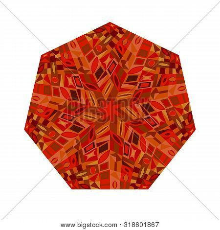 Isolated Mosaic Heptagon Shape - Colorful Ornamental Vector Design Element From Geometrical Shapes
