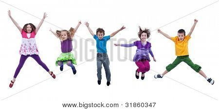 Happy joyful kids jumping high with real life facial expressions - isolated