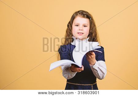 Knowledge Day. Serious About Studying. Schoolgirl Adorable Child. Childhood And Upbringing. Knowledg