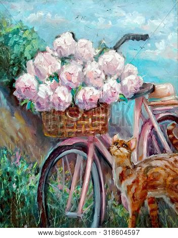 Oil Painting On Canvas. Bouquet Of Peonies In A Bicycle Basket On A Background Of The Summer Sky. Ma