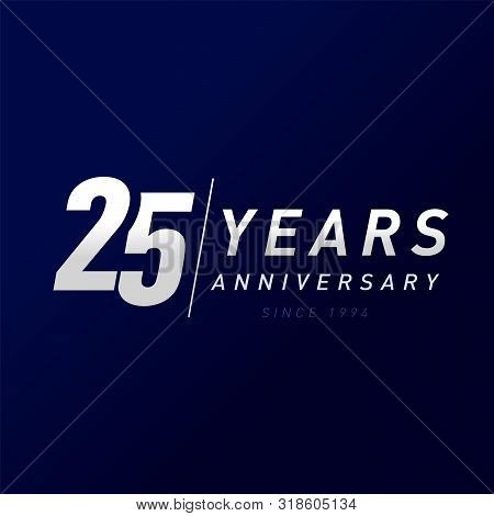 25 Years Anniversary Vector Template Design Illustration. 25th Year Anniversary Silver Numbers. Gree