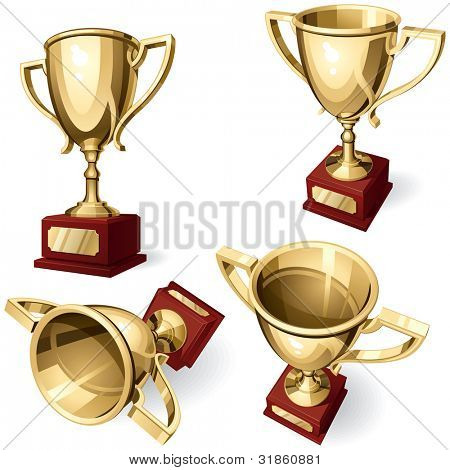 Sport Cup. Set of four views on white background. Rasterized version