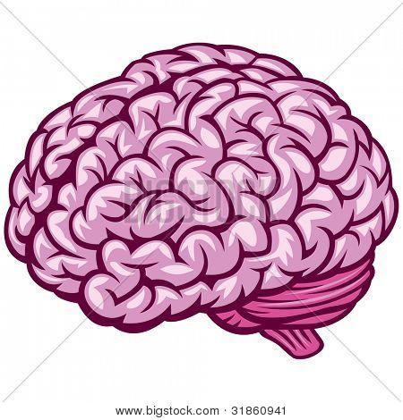 Comics draw of human Brain. Rasterized version