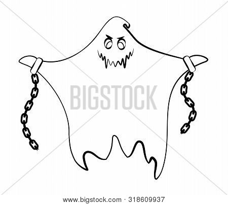 Contour Ghost On A White Background. Monster With Shackles And Chains. Cute Black Outline Ghost. Cha