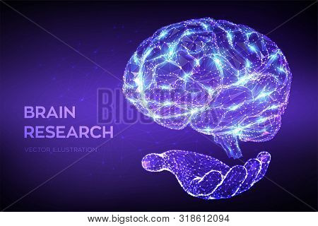 Brain. Low Poly Abstract Digital Human Brain In Hand. Neural Network. Iq Testing, Artificial Intelli