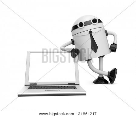 Robot leaning on a notebook. Image contain clipping path
