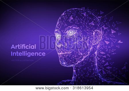 Ai. Artificial Intelligence Concept. Low Poly Abstract Digital Human Face. Human Head In Robot Digit