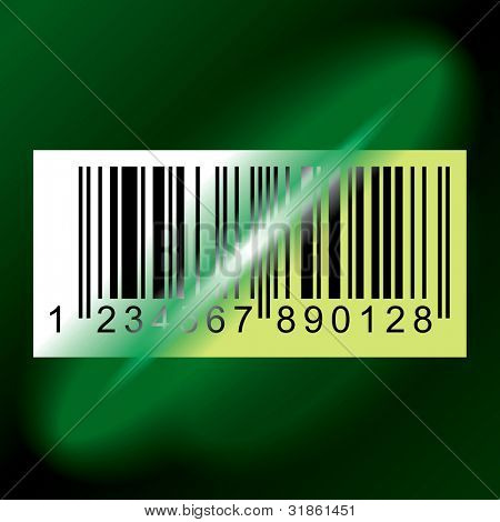 Laser beam from Data Scanner pass through Barcode Label. Rasterized version