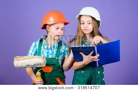 Sisters renovating home. Home improvement activities. Kids choosing paint colour for their new room. Kids girls planning renovation. Children sisters run renovation their room. Amateur renovation poster