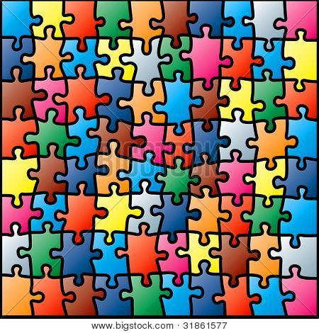 Jigsaw puzzle colorful pattern. Rasterized version