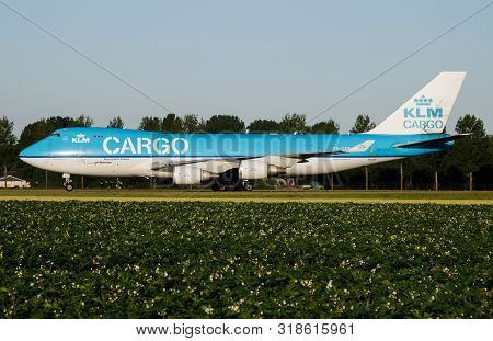 Amsterdam / Netherlands - July 3, 2017: Klm Cargo Boeing 747-400 Ph-ckb Cargo Plane Taxiing At Amste