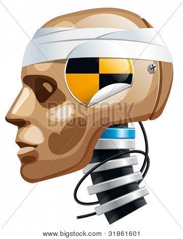Crash test dummy man head. Rasterized version