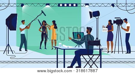 Movie Industry, Young Actress Woman In Fantasy Costume Stand On Chromakey Background With Makeup Art