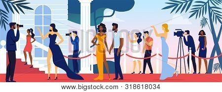 Celebrities Walking Along Red Carpet, Posing To Paparazzi And Fan Photographing On Camera And Smartp