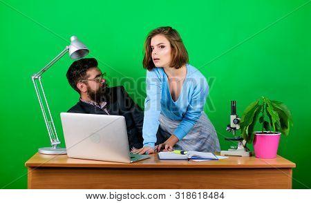 Flirting With Teacher. Student Sensual Sexy Girl And Lustful Experienced Teacher. Teaching Pleasure.
