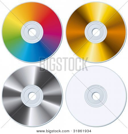 Set of Rainbow, Gold, Silver and White blank CDs. Rasterized version