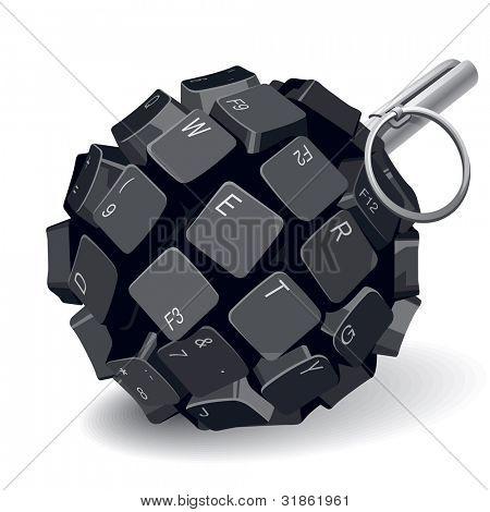 Black keyboard grenade on white background. Rasterized version