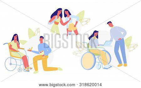 People With Disabilities In Everyday Life Flat Cartoon Vector Illustration. Girl Working With Laptop