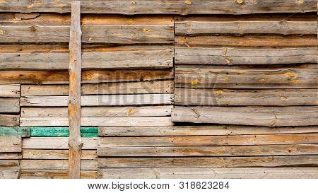 Brown Rustic Wooden Texture Background. Facade Of A Log House, Copy Space. Wooden Texture Background