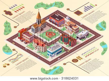 Flat Banner Big City Layout Infographics Cartoon. An Architectural Project And Top View Area City Wi